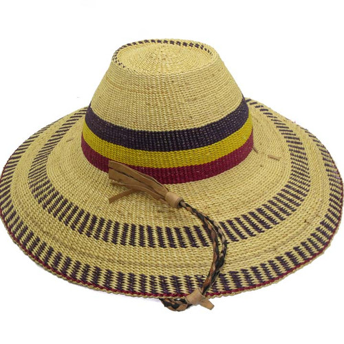 "African Straw Hat with Chin Strap #95-Fits 22""-23"" Head"