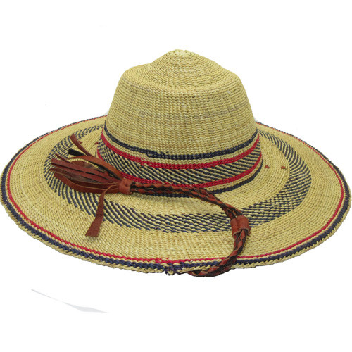 """African Straw Hat with Chin Strap #97-Fits 22""""-23"""" Head"""