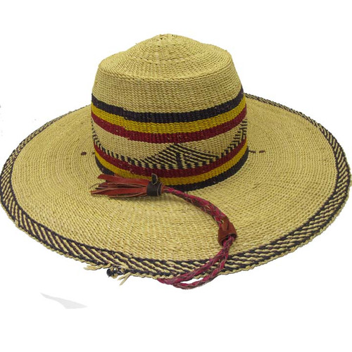 "African Straw Hat with Chin Strap #101-Fits 24""- 25"" Head"