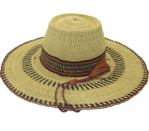 """African Straw Hat with Chin Strap #103-Fits 22""""-23"""" Head"""