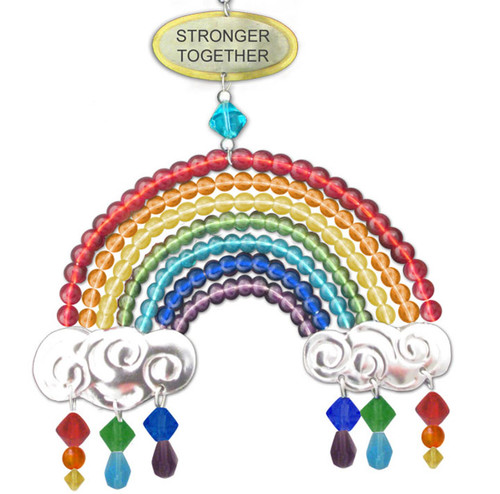 Handmade Metal Ornament Stronger Together Rainbow