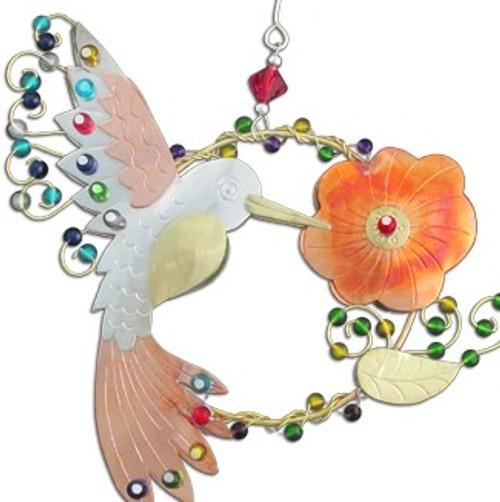 Handmade Metal Ornament Ruby Hummingbird