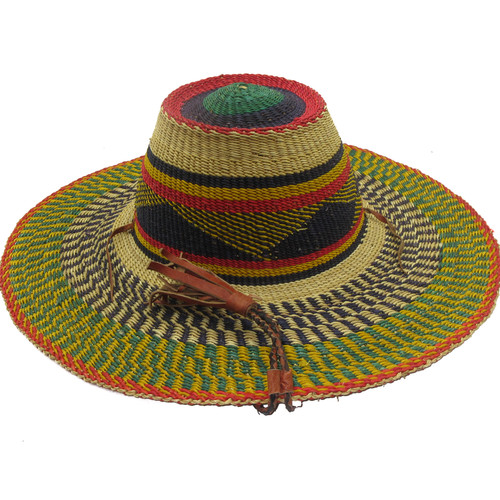 """African Straw Hat with Chin Strap #111-Fits 22 1/2""""-23 1/2"""" Head"""