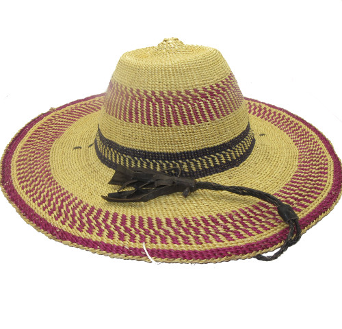 "African Straw Hat with Chin Strap #112-Fits 22 1/2""-23 1/2"" Head"