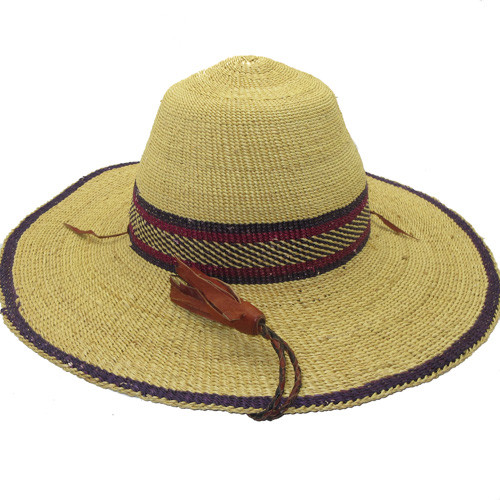 "African Straw Hat with Chin Strap #113-Fits 22 1/2""-23 1/2"" Head"