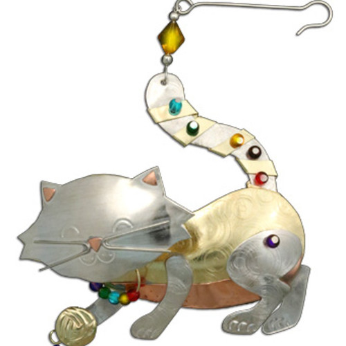 Handmade Metal Ornament Playful Cat