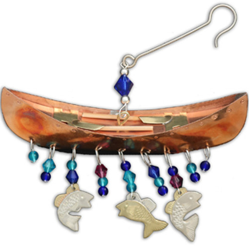 Handmade Metal Ornament Canoe Ride