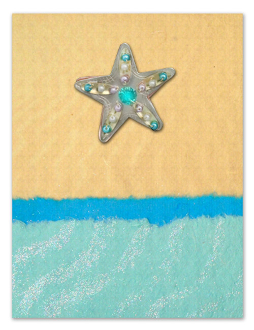 Handmade Greeting Card with Sea Star Pin