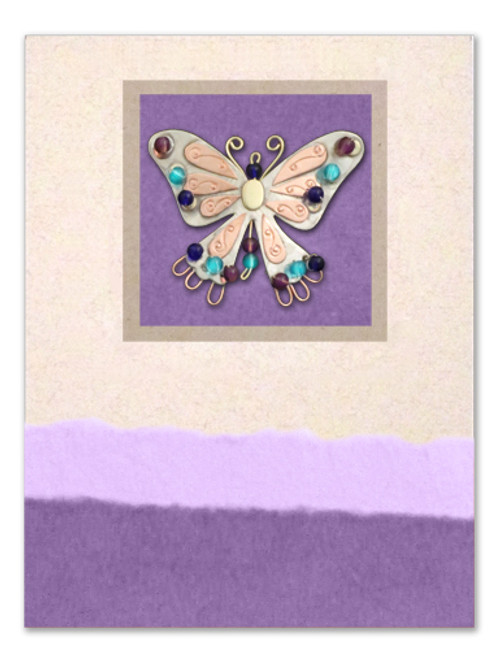 Handmade Greeting Card with Indigo Butterfly Pin