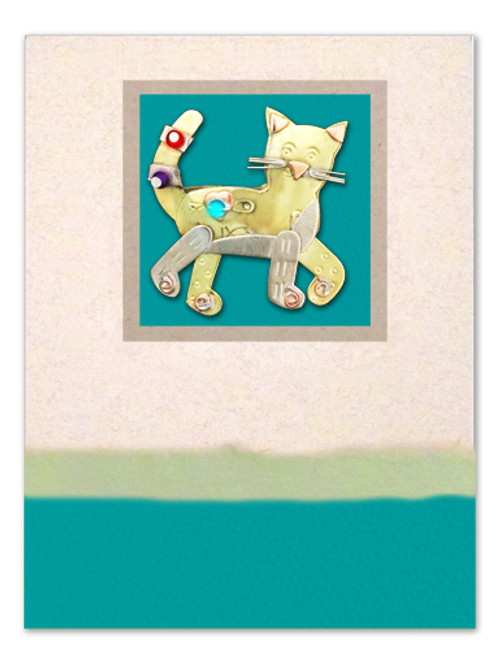 Handmade Greeting Card with Sassy Cat Pin