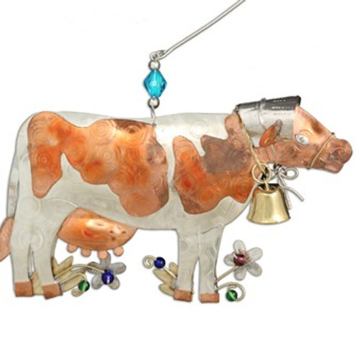 Handmade Metal Ornament Bonnie the Cow