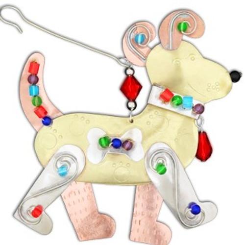 Handmade Metal Ornament Happy Dog