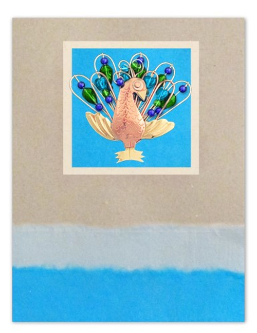 Handmade Greeting Card with Proud Peacock Pin