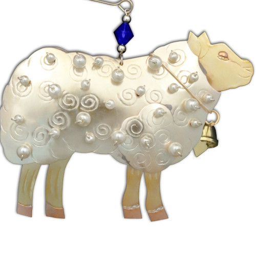 Handmade Metal Ornament Woolly Sheep