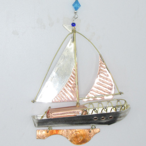Handmade Metal Ornament Sailboat