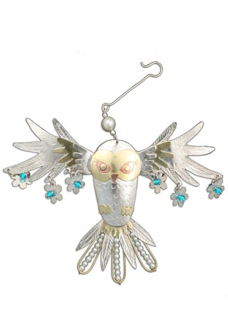Handmade Metal Ornament Snowy Owl
