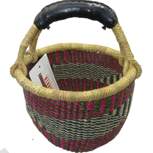 African Bolga Market Basket Small With Rubber Handle #4