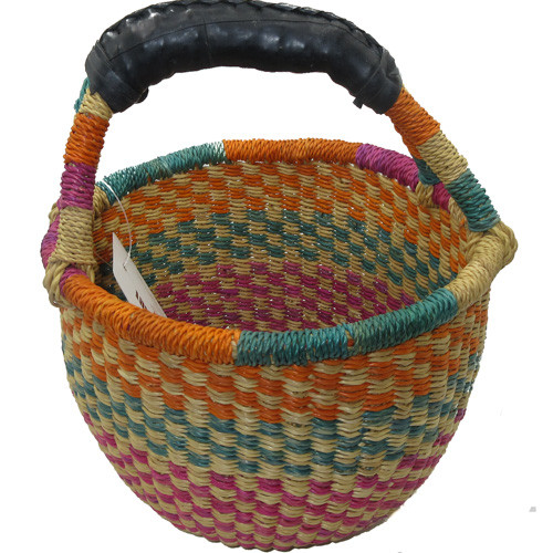 African Bolga Market Basket Small With Rubber Handle #6