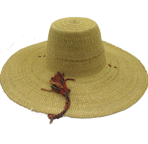 """African Straw Hat with Chin Strap #116-Fits 20 1/2""""-21 1/2"""" Head"""