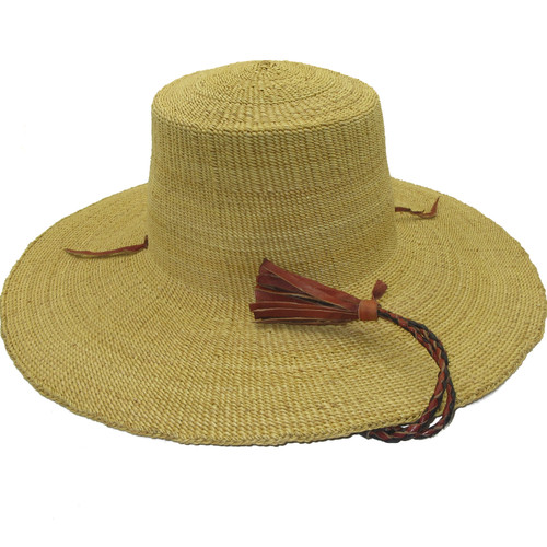 """African Straw Hat with Chin Strap #117-Fits 20""""-21"""" Head"""