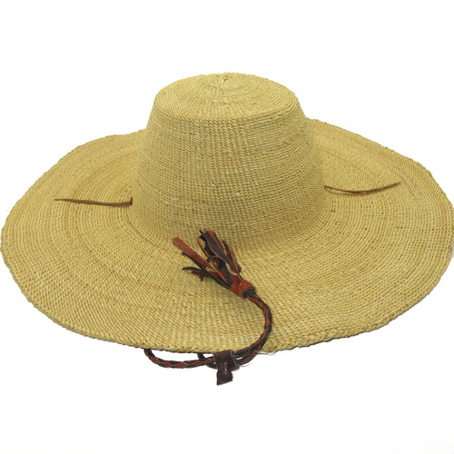 """African Straw Hat with Chin Strap #118-Fits 24""""-25"""" Head"""