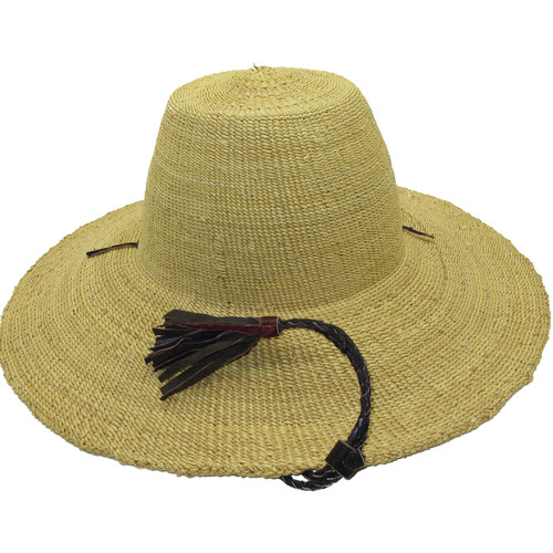 """African Straw Hat with Chin Strap #123-Fits 22""""-23"""" Head"""