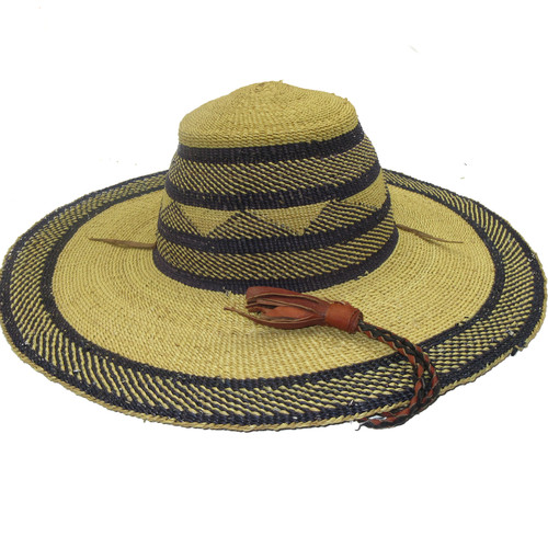 "African Straw Hat with Chin Strap #125-Fits 20 1/2""-21 1/2"" Head"