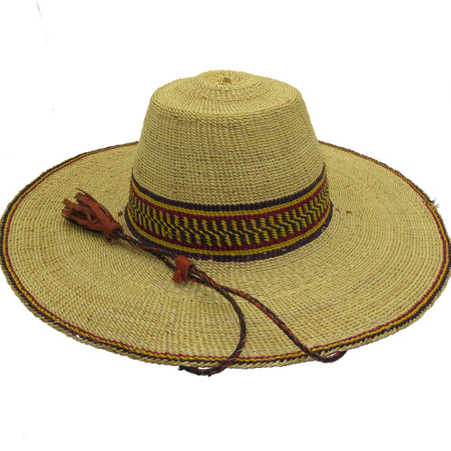 """African Straw Hat with Chin Strap #127-Fits 20 1/2""""-21 1/2"""" Head"""