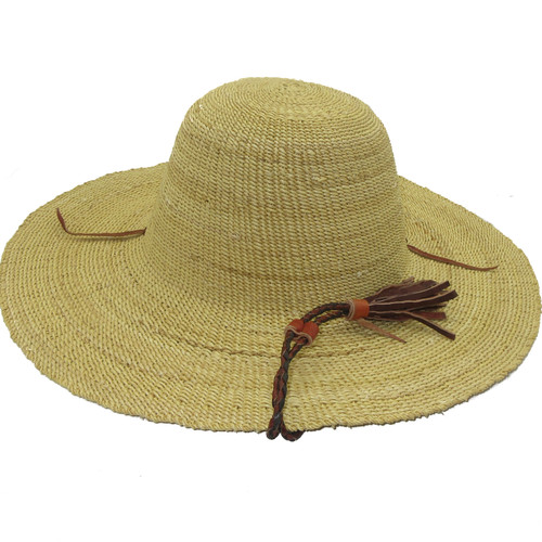 """African Straw Hat with Chin Strap #129-Fits 20 1/2""""-21 1/2"""" Head"""