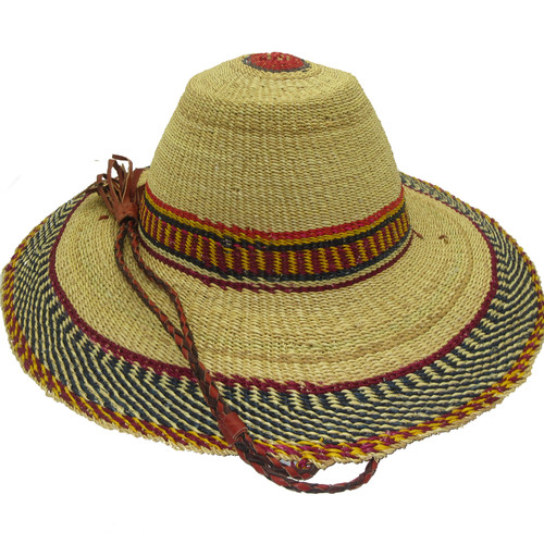 """African Straw Hat with Chin Strap #133-Fits 23""""-24"""" Head"""