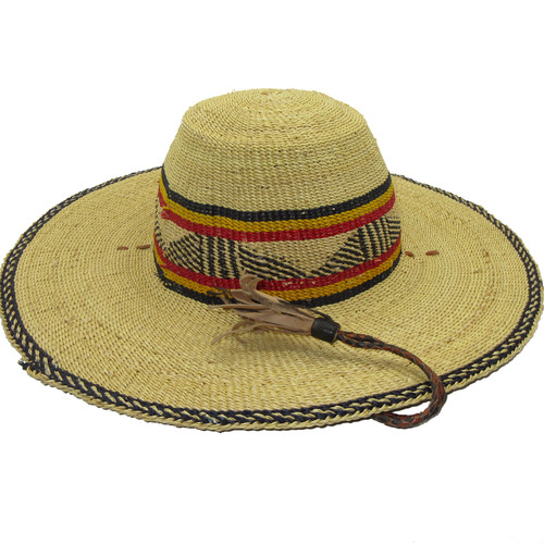 """African Straw Hat with Chin Strap #134-Fits 23""""-24"""" Head"""