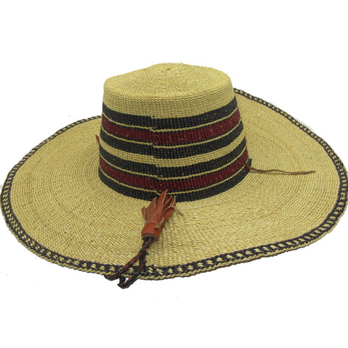 """African Straw Hat with Chin Strap #136-Fits 21 1/2""""-22 1/2"""" Head"""