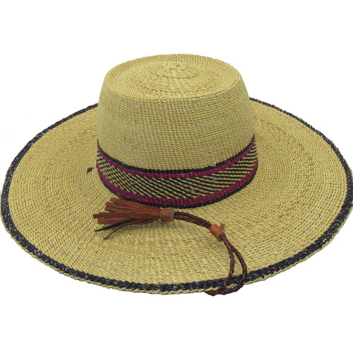 """African Straw Hat with Chin Strap #137-Fits 21 1/2""""-22 1/2"""" Head"""