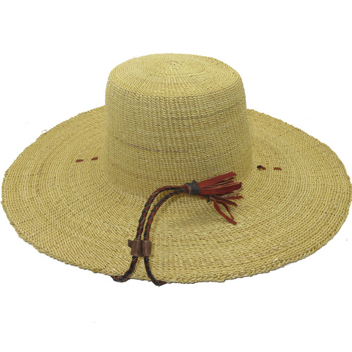 """African Straw Hat with Chin Strap #139-Fits 21 1/2""""-22 1/2"""" Head"""
