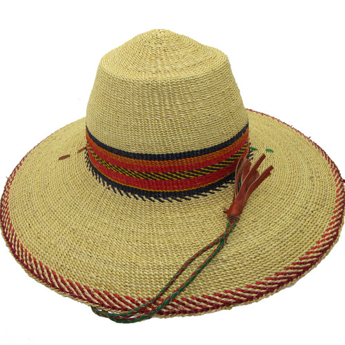 """African Straw Hat with Chin Strap #144-Fits 22""""-23"""" Head"""