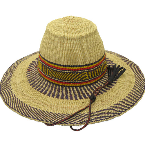 """African Straw Hat with Chin Strap #147-Fits 21 1/2""""-22 1/2"""" Head"""