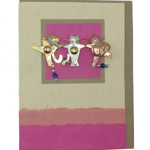 Handmade Greeting Card with Cabaret Cats Pin