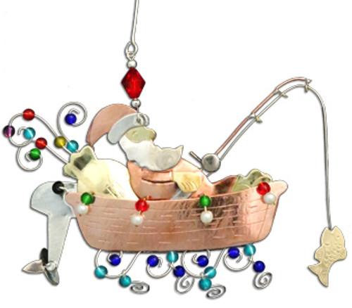 Handmade Metal Ornament Fishing Boat Santa