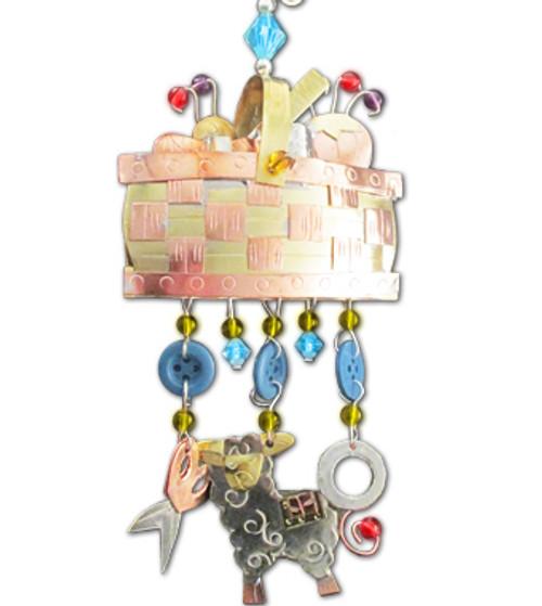 Handmade Metal Ornament Sewing Basket