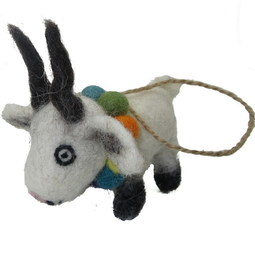 Felted Wool Ornament White Goat