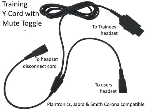 Headset training Y-Cord with mute toggle switch