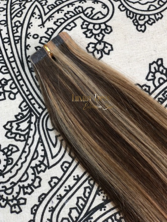 Luxury Tape-In Hair Extension #4/27 Brown Mixer