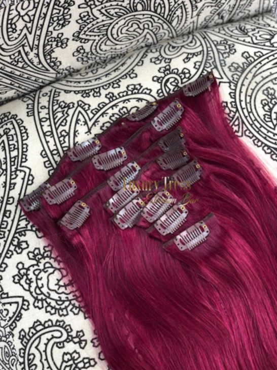 Luxury Clip-Ins Hair Extension #BURGUNDY