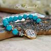 IN-727  St. Benedict Stylish Bracelet Turquoise