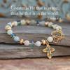 IN-743  Greater is He who is in me Gemstone Bracelet