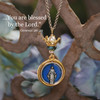 Enamel Mary Medal with Crown Long Necklace