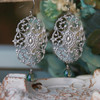IS-69  Filagree Drop Earrings with crystals