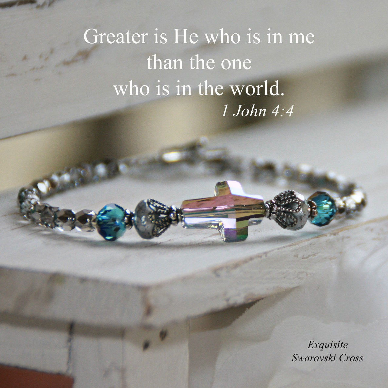 7bb9385c1 IN-186 WOW Crystal Swarovski Cross Bracelet..Greater is He that is in Me...  Go - Collectables The Studio