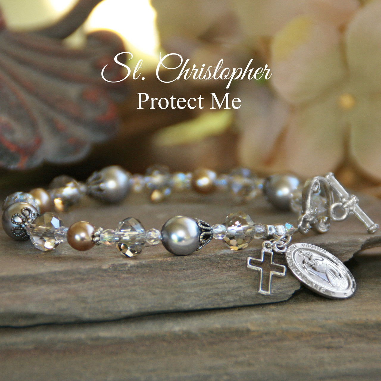 IN-381  St. Christopher Pearls and Crystals Bracelet