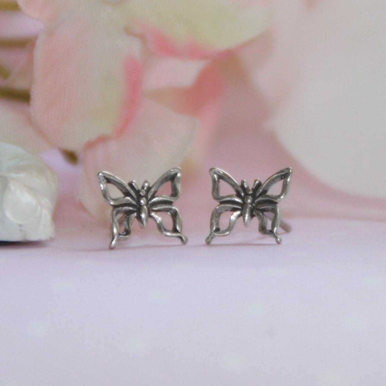 STG-141  Sterling Silver Butterfly Post Earrings